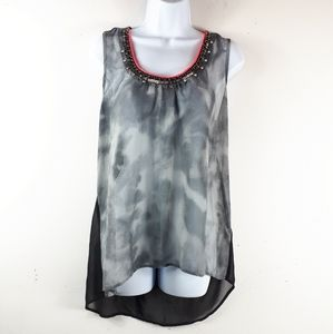 Studio Y Sleeveless Tie Dye Look Decorative Top